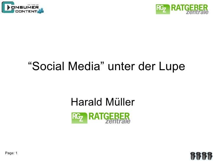 """"""" Social Media"""" unter der Lupe Harald Müller"""