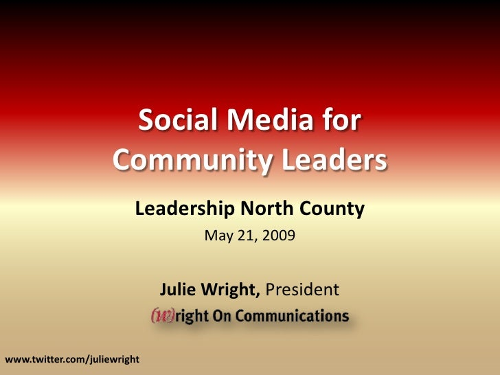 Social Media for                      Community Leaders                           Leadership North County                 ...