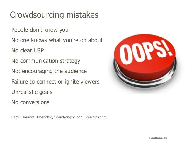 Crowdsourcing mistakes People don't know you No one knows what you're on about No clear USP No communication strategy Not ...