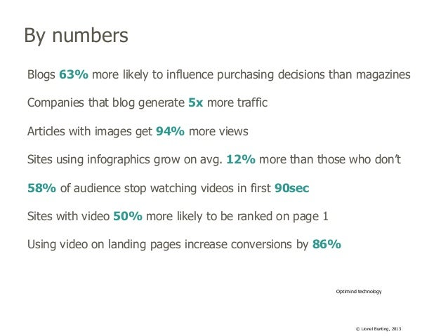 By numbers Blogs 63% more likely to influence purchasing decisions than magazines Companies that blog generate 5x more tra...