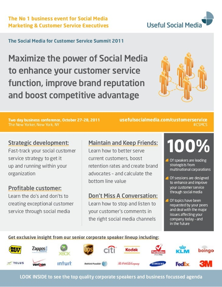 The No 1 business event for Social MediaMarketing & Customer Service ExecutivesThe Social Media for Customer Service Summi...