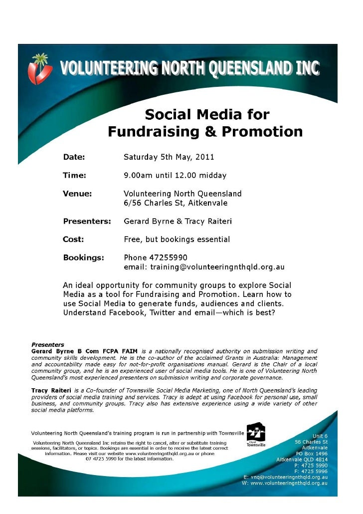 Social media for fundraising and promotion flyer 5 may 2012