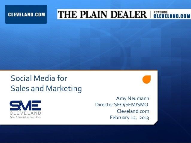 Social Media forSales and Marketing                                Amy Neumann                      Director SEO/SEM/SMO  ...