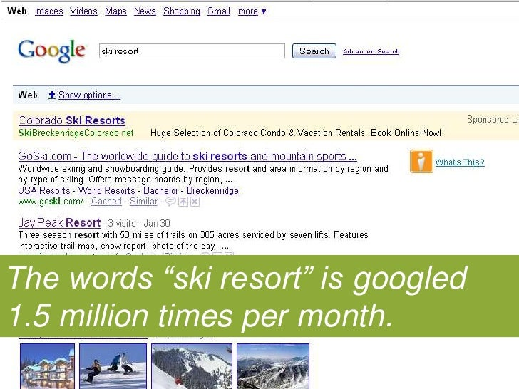"The words ""ski resort"" is googled 1.5 million times per month.<br />"