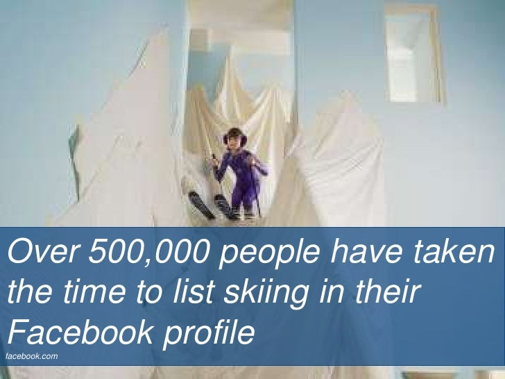 Over 500,000 people have taken the time to list skiing in their Facebook profile<br />facebook.com<br />