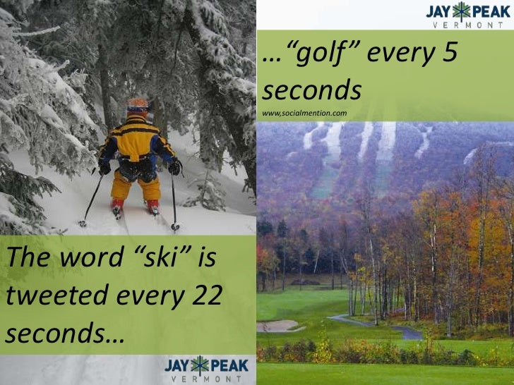 "…""golf"" every 5 seconds<br />www,socialmention.com<br />The word ""ski"" is tweeted every 22 seconds…<br />"