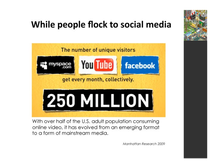 While  people  flock  to  social  media       With over half of the U.S. adult population consuming online vide...