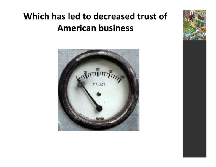 Which  has  led  to  decreased  trust  of             American  business