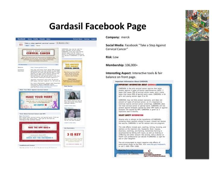 Gardasil  Facebook  Page                     Company:    merck                      Social  Media:  Facebo...