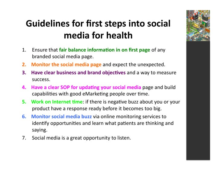 Guidelines  for  first  steps  into  social              media  for  health   1. Ensure  that  fair...