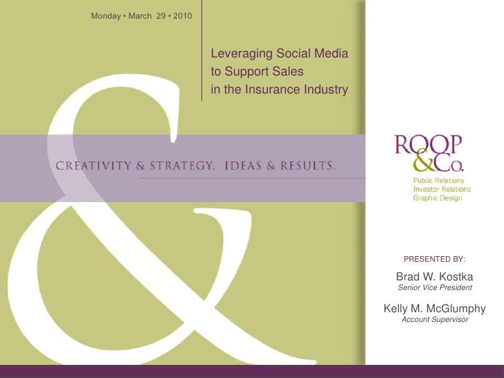 Monday • March 29 • 2010                               Leveraging Social Media                            to Support Sales...