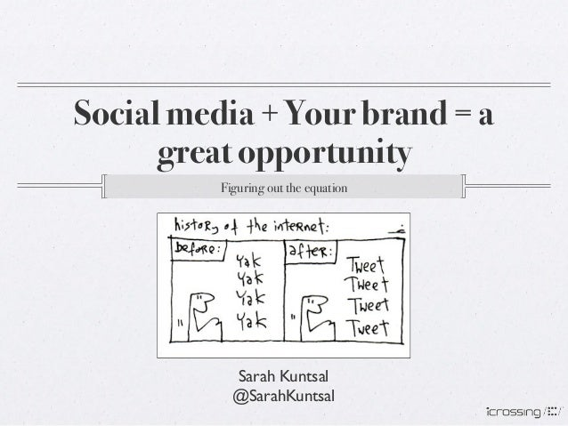Social media + Your brand = a      great opportunity!          Figuring out the equation!            Sarah Kuntsal        ...