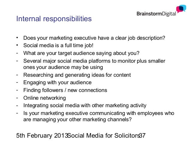 Social media for solicitors – Social Media Marketing Job Description