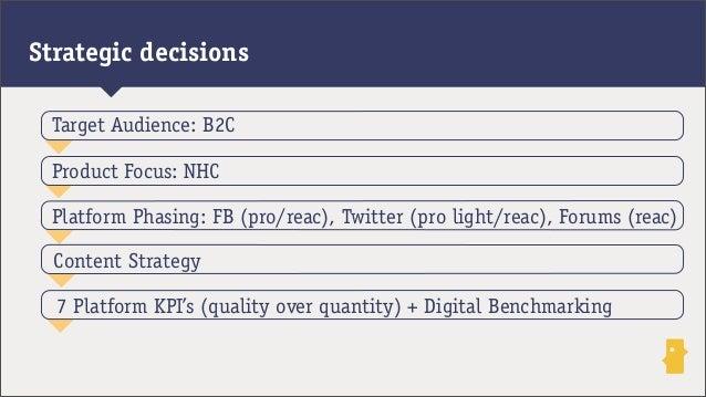 Strategic decisionsPlatform Phasing: FB (pro/reac), Twitter (pro light/reac), Forums (reac)Product Focus: NHCTarget Audien...