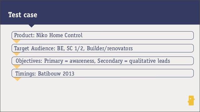 Test caseObjectives: Primary = awareness, Secondary = qualitative leadsTarget Audience: BE, SC 1/2, Builder/renovatorsProd...