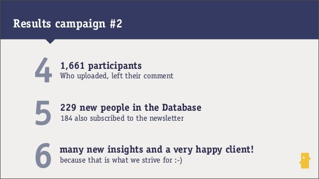 1,661 participants229 new people in the Database45Who uploaded, left their comment184 also subscribed to the newsletter6 m...