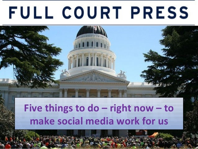 Five things to do – right now – to make social media work for us