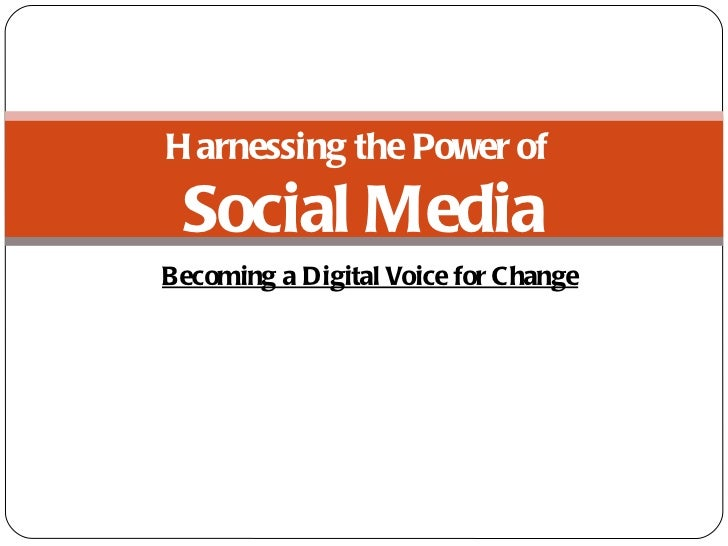 Becoming a Digital Voice for Change Harnessing the Power of  Social Media