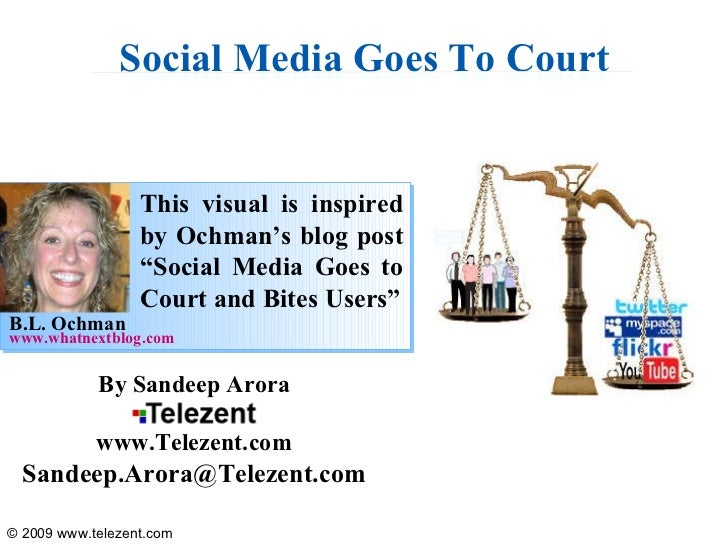 """Social Media Goes To Court This visual is inspired by Ochman's blog post """"Social Media Goes to Court and Bites Users"""" www...."""