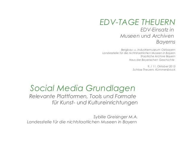EDV-TAGE THEUERN  EDV-Einsatz in Museen und Archiven Bayerns  Bergbau- u. Industriemuseum Ostbayern Landesstelle für die n...