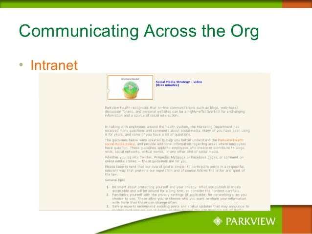 Communicating Across the Org • Intranet