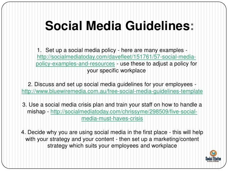 Social media guidelines on the policy for employees using for Employee social media policy template