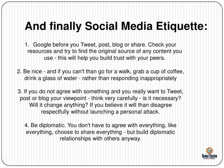 social media: rules, regulations, & etiquette essay Articles international business etiquette - customs and culture international business etiquette - customs and culture  social media, email, and other.