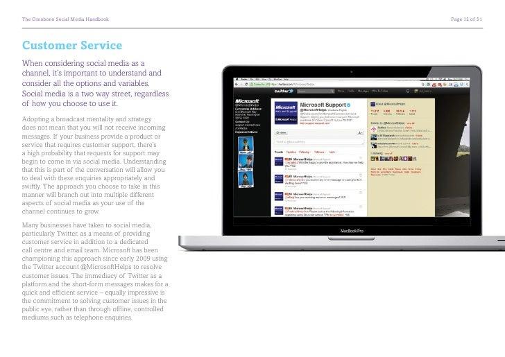 The Omobono Social Media Handbook                     Page 12 of 51Customer ServiceWhen considering social media as achan...