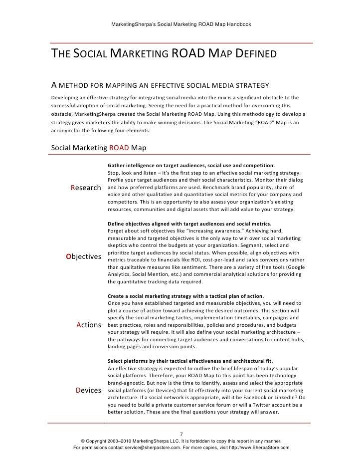 MarketingSherpa's Social Marketing ROAD Map Handbook     THESOCIALMARKETINGROADMAPDEFINED  AMETHODFORMAPPINGANE...