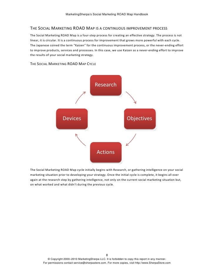 MarketingSherpa's Social Marketing ROAD Map Handbook    THESOCIALMARKETINGROADMAPISACONTINUOUSIMPROVEMENTPROCESS...