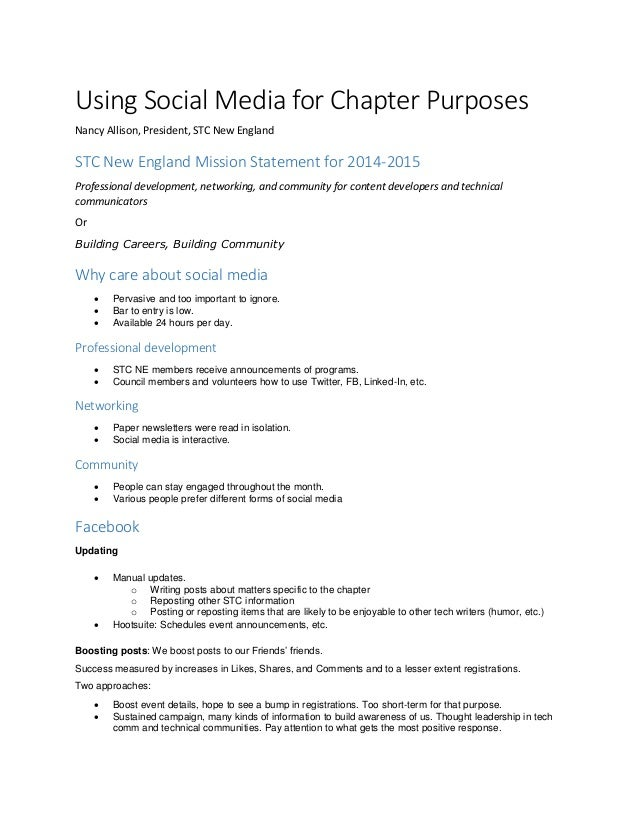 Using Social Media for Chapter Purposes Nancy Allison, President, STC New England STC New England Mission Statement for 20...