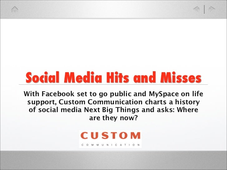 Social Media Hits and MissesWith Facebook set to go public and MySpace on life support, Custom Communication charts a hist...