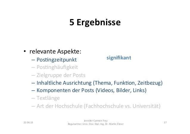 5 Ergebnisse • relevante Aspekte:  – Pos9ngzeitpunkt – Pos9nghäufigkeit – Zielgruppe der Posts – I...