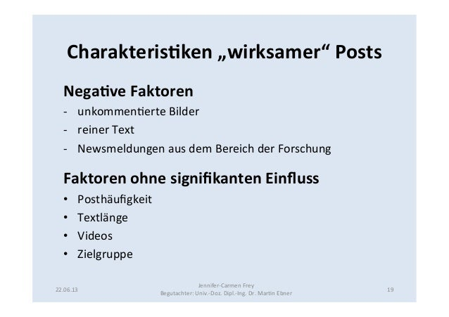"""Charakteris5ken """"wirksamer"""" Posts Nega5ve Faktoren -‐ unkommen9erte Bilder -‐ reiner Text  -‐ Ne..."""