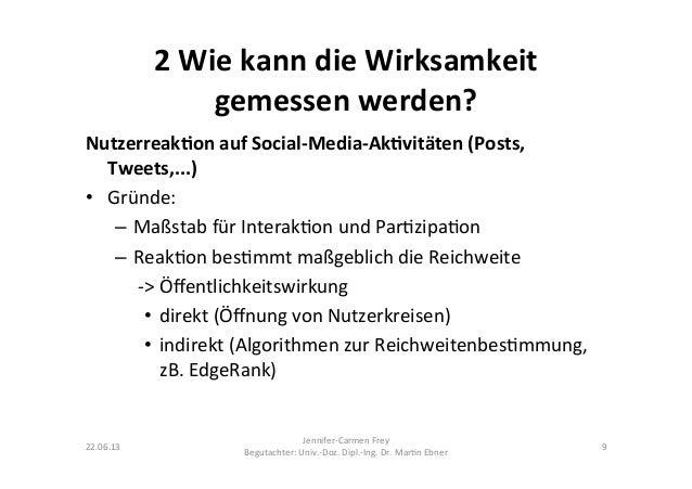 2 Wie kann die Wirksamkeit gemessen werden? Nutzerreak5on auf Social-‐Media-‐Ak5vitäten (Posts, Tw...