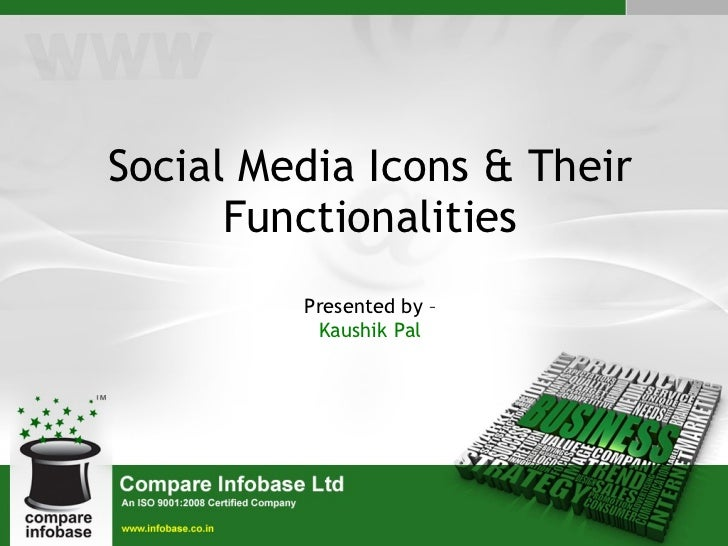 Social Media Icons & Their Functionalities Presented by – Kaushik Pal