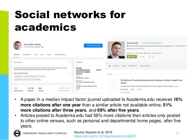 Social networks for academics 11 • A paper in a median impact factor journal uploaded to Academia.edu receives 16% more ci...