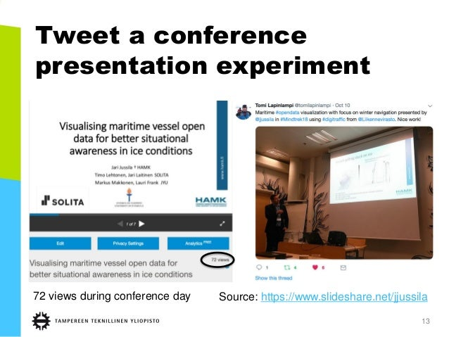 Tweet a conference presentation experiment 13 72 views during conference day Source: https://www.slideshare.net/jjussila