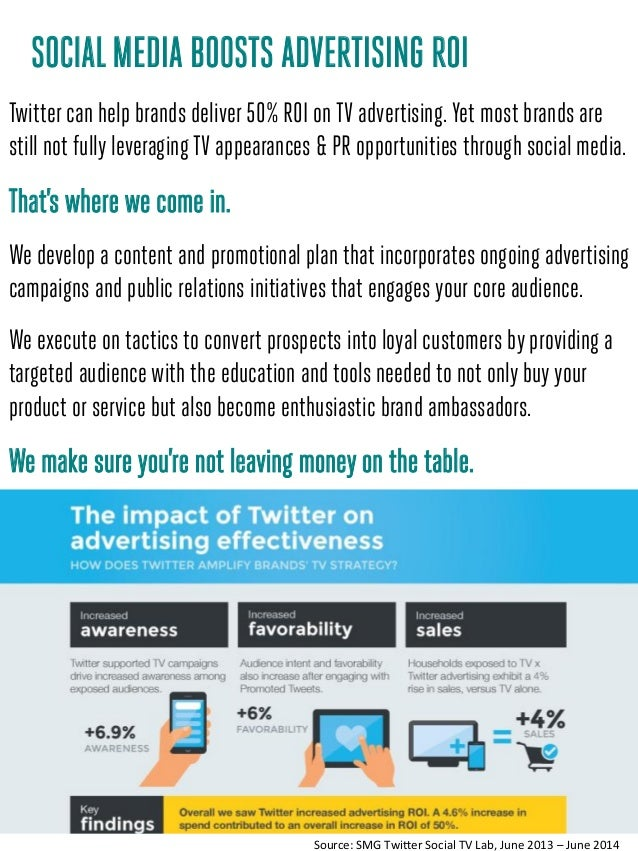 SOCIALMEDIA BOOSTS ADVERTISING ROI Twitter can help brands deliver 50% ROI on TV advertising. Yet most brands are still no...