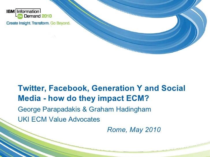 Twitter, Facebook, Generation Y and SocialMedia - how do they impact ECM?George Parapadakis & Graham HadinghamUKI ECM Valu...