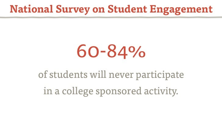 National Survey on Student Engagement             60-84%     of students will never participate      in a college sponsore...