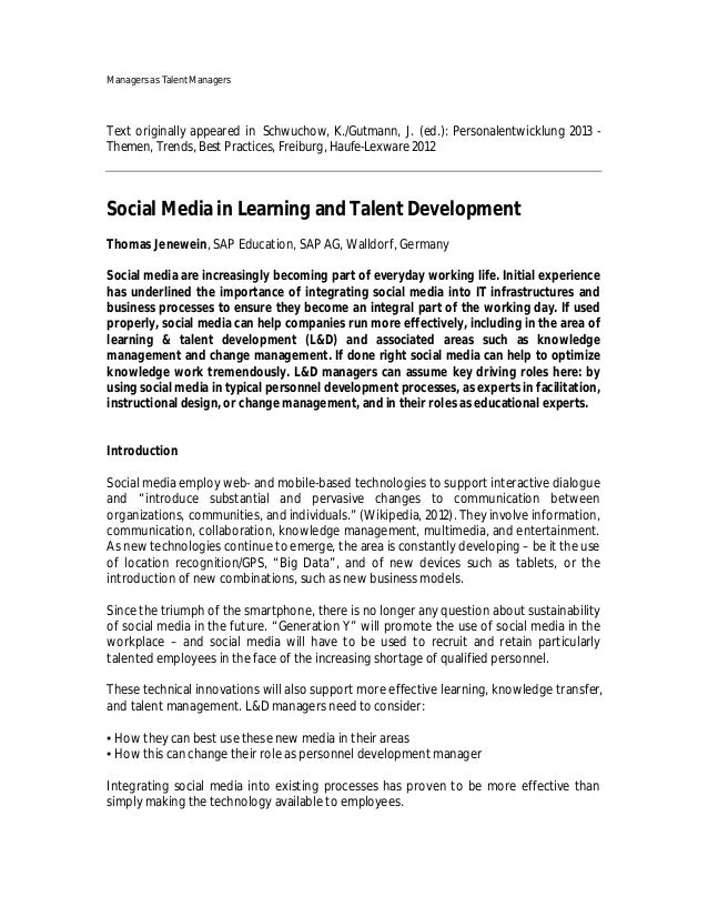 Managers as Talent ManagersText originally appeared in Schwuchow, K./Gutmann, J. (ed.): Personalentwicklung 2013 -Themen, ...