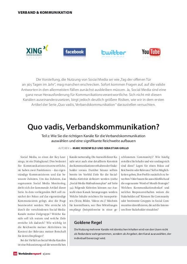 """VERBAND & KOMMUNIKATION                Die Vorstellung, die Nutzung von Social Media sei wie """"Tag der offenen Tür       an..."""