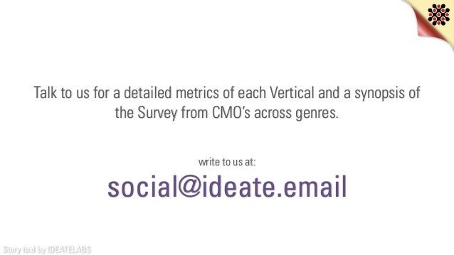 Story told by IDEATELABS Talk to us for a detailed metrics of each Vertical and a synopsis of the Survey from CMO's across...