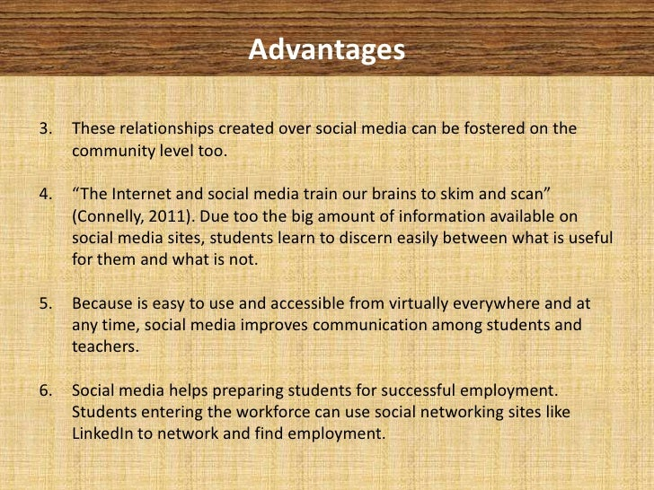 benefits of social networking essay The social media has a great potential in adult education many adults perceive  social media as the source of up-to-date information on friends.
