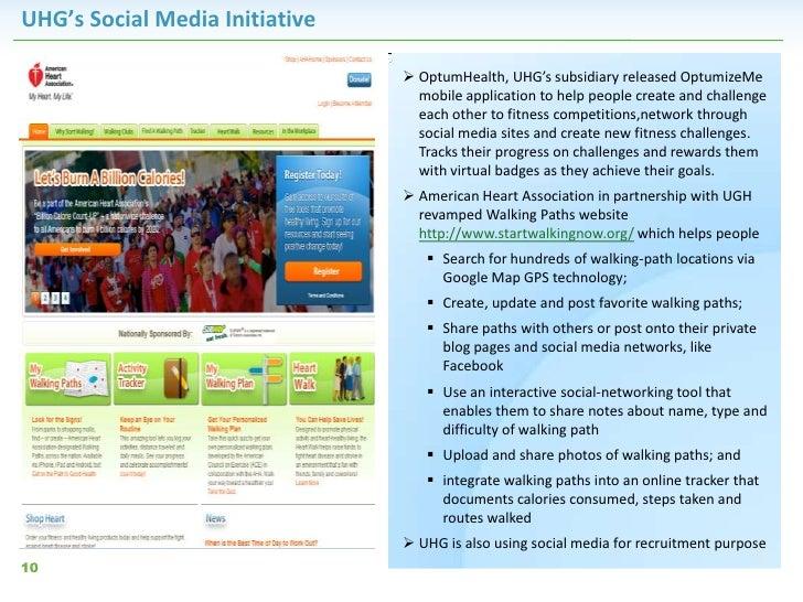 UHG's Social Media Initiative                                 OptumHealth, UHG's subsidiary released OptumizeMe          ...