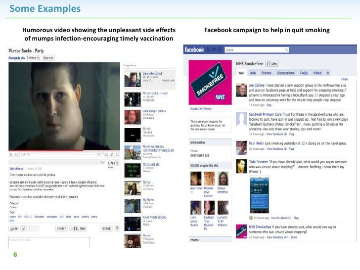 Some Examples    Humorous video showing the unpleasant side effects   Facebook campaign to help in quit smoking     of mum...