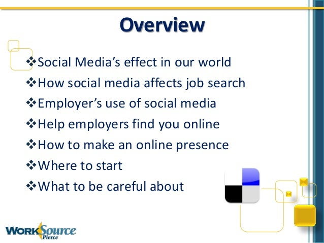 OverviewSocial Media's effect in our worldHow social media affects job searchEmployer's use of social mediaHelp employ...
