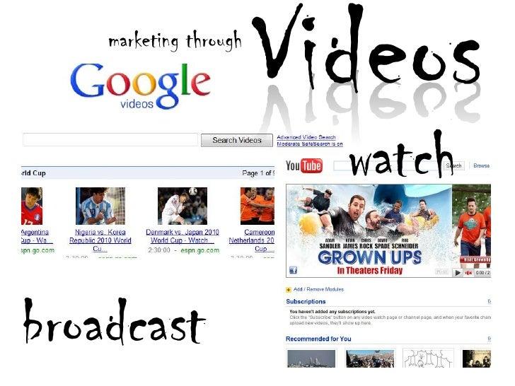 Videos<br />marketing through<br />watch<br />broadcast<br />