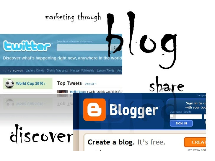 blog<br />marketing through<br />share<br />discover<br />